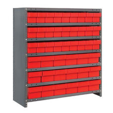 7 Shelf Closed Unit with 18 Large Drawers and 27 Small Drawers - Red