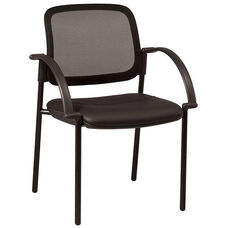 Work Smart Screen Back and Padded Faux Leather Seat Visitors Chair with Arms - Black