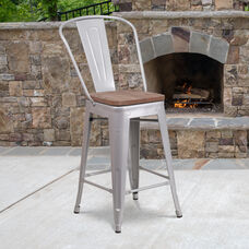 "24"" High Silver Metal Counter Height Stool with Back and Wood Seat"