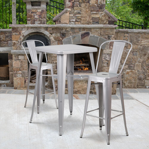 "Our Commercial Grade 23.75"" Square Silver Metal Indoor-Outdoor Bar Table Set with 2 Stools with Backs is on sale now."