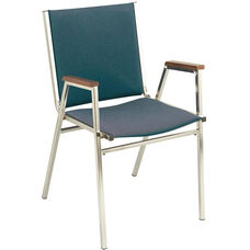 Quick Ship 400 Series Stacking Square Steel Frame Hospitality Armchair with Full Back and 1