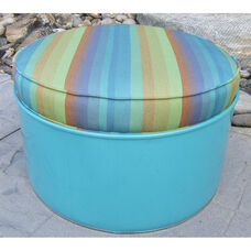 Laguna Steel Drum Ottoman with Multicolor Accents