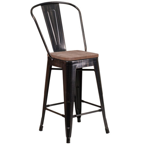 """Our 24"""" High Black-Antique Gold Metal Counter Height Stool with Back and Wood Seat is on sale now."""