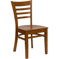 Cherry Finished Ladder Back Wooden Restaurant Chair