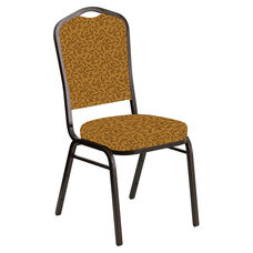 Embroidered Crown Back Banquet Chair in Jasmine Mojave Gold Fabric - Gold Vein Frame