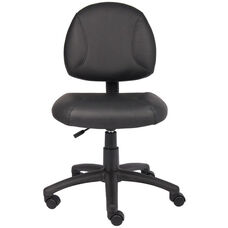Deluxe Armless LeatherPlus Posture Task Chair with Seat Height Adjustment - Black