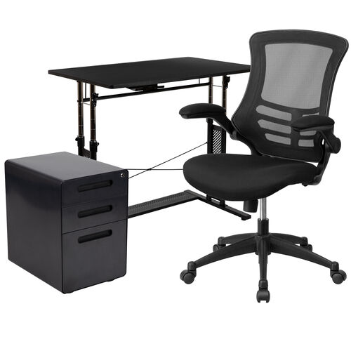 Our Work From Home Kit - Adjustable Computer Desk, Ergonomic Mesh Office Chair and Locking Mobile Filing Cabinet with Inset Handles is on sale now.