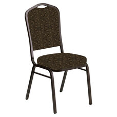 Embroidered Crown Back Banquet Chair in Empire Chocolate Fabric - Gold Vein Frame