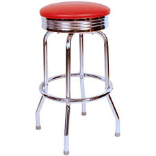 Retro Style Backless 24''H Swivel Bar Stool with Chrome Frame and Padded Seat - Red Vinyl