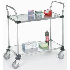 Stainless Steel 2 Shelf Solid Shelf Cart - 24