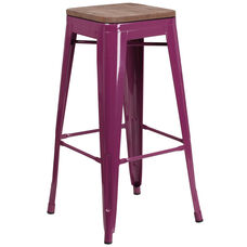 """30"""" High Backless Purple Barstool with Square Wood Seat"""