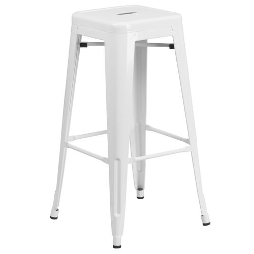 "Our Commercial Grade 30"" High Backless White Metal Indoor-Outdoor Barstool with Square Seat is on sale now."
