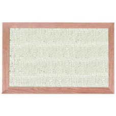 Burlap Weave Vinyl Bulletin Board with Red Oak Frame and Clear Lacquer Finish - Cement - 12