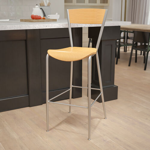 Metal Restaurant Barstool with Natural Wood Back & Seat