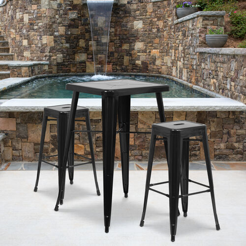"""Commercial Grade 30"""" High Backless Black Metal Indoor-Outdoor Barstool with Square Seat"""