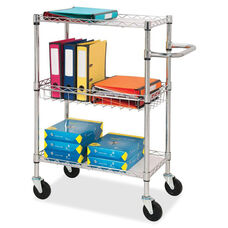 Lorell 3 -Tier Wire Rolling Cart - Chrome