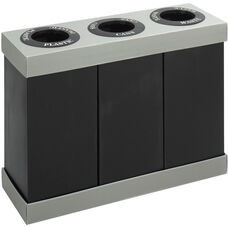 At-Your-Disposal® Three Separate 28 Gallon Bin Recycling Center - Black and Gray