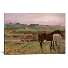 Horses in a Meadow, 1871 by Edgar Degas Gallery Wrapped Canvas Artwork