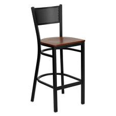 Black Grid Back Metal Restaurant Barstool with Cherry Wood Seat