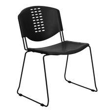 HERCULES Series 400 lb. Capacity Black Plastic Stack Chair with Black Frame