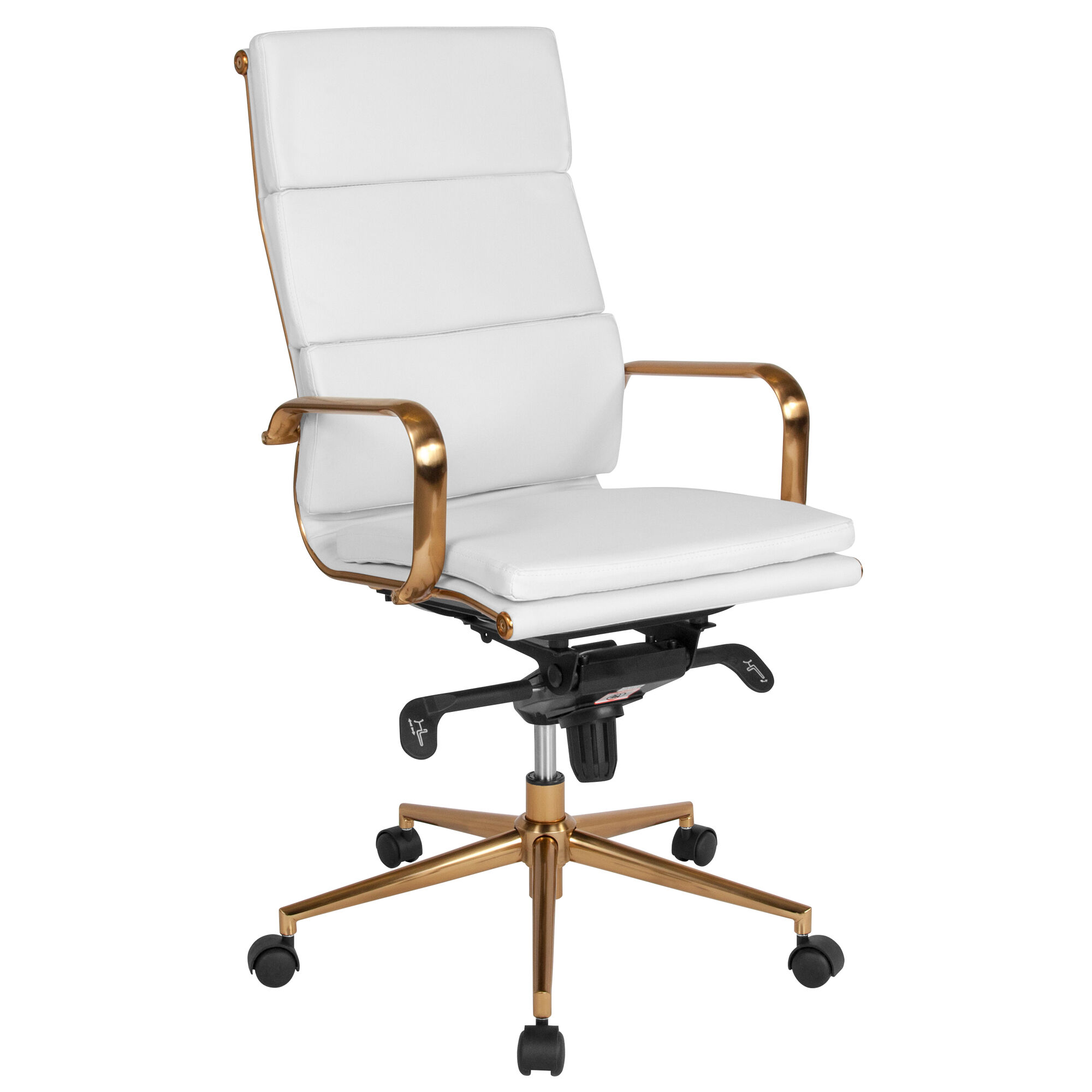 High Back White Leather Executive Swivel Office Chair with Gold Frame,  Synchro-Tilt Mechanism and Arms