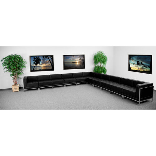 HERCULES Imagination Series Black LeatherSoft Sectional Configuration, 11 Pieces