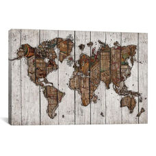 Wood Map by Diego Tirigall Gallery Wrapped Canvas Artwork