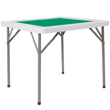 "34.5"" Square 4-Player Folding Card Game Table with Green Playing Surface and Cup Holders"