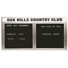 2 Door Indoor Illuminated Enclosed Directory Board with Header and Aluminum Frame - 36