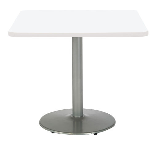 """36"""" Square Laminate Pedestal Table with Designer White Top - Round Silver Base"""