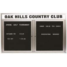 2 Door Outdoor Illuminated Enclosed Directory Board with Header and Aluminum Frame - 36