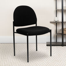 Comfort Black Fabric Stackable Steel Side Reception Chair