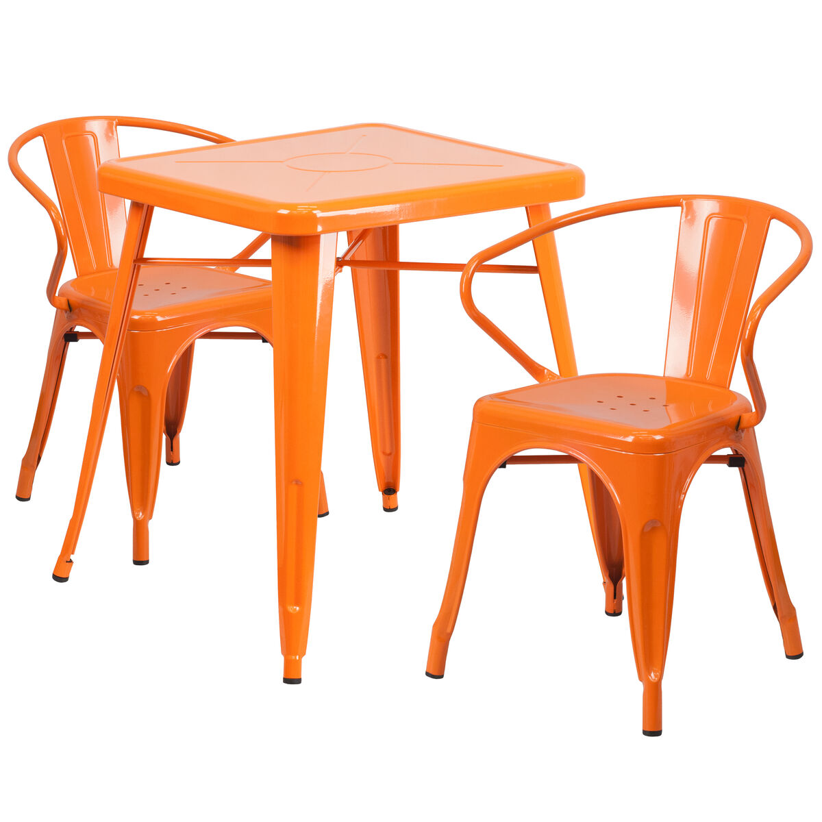 23.75SQ Orange Metal Table Set CH-31330-2-70-OR-GG ...