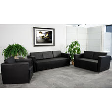 "HERCULES Trinity Series Reception Set in Black LeatherSoft with <span style=""color:#0000CD;"">Free </span> Tables"