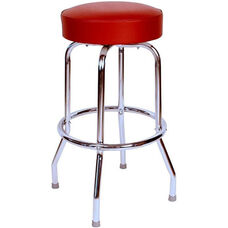50's Retro Backless 30''H Swivel Bar Stool with Chrome Frame and Padded Seat - Wine Vinyl