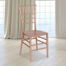 """HERCULES Series Rose Gold Resin Stacking Chiavari Chair with <span style=""""color:#0000CD;"""">Free </span> Cushion"""