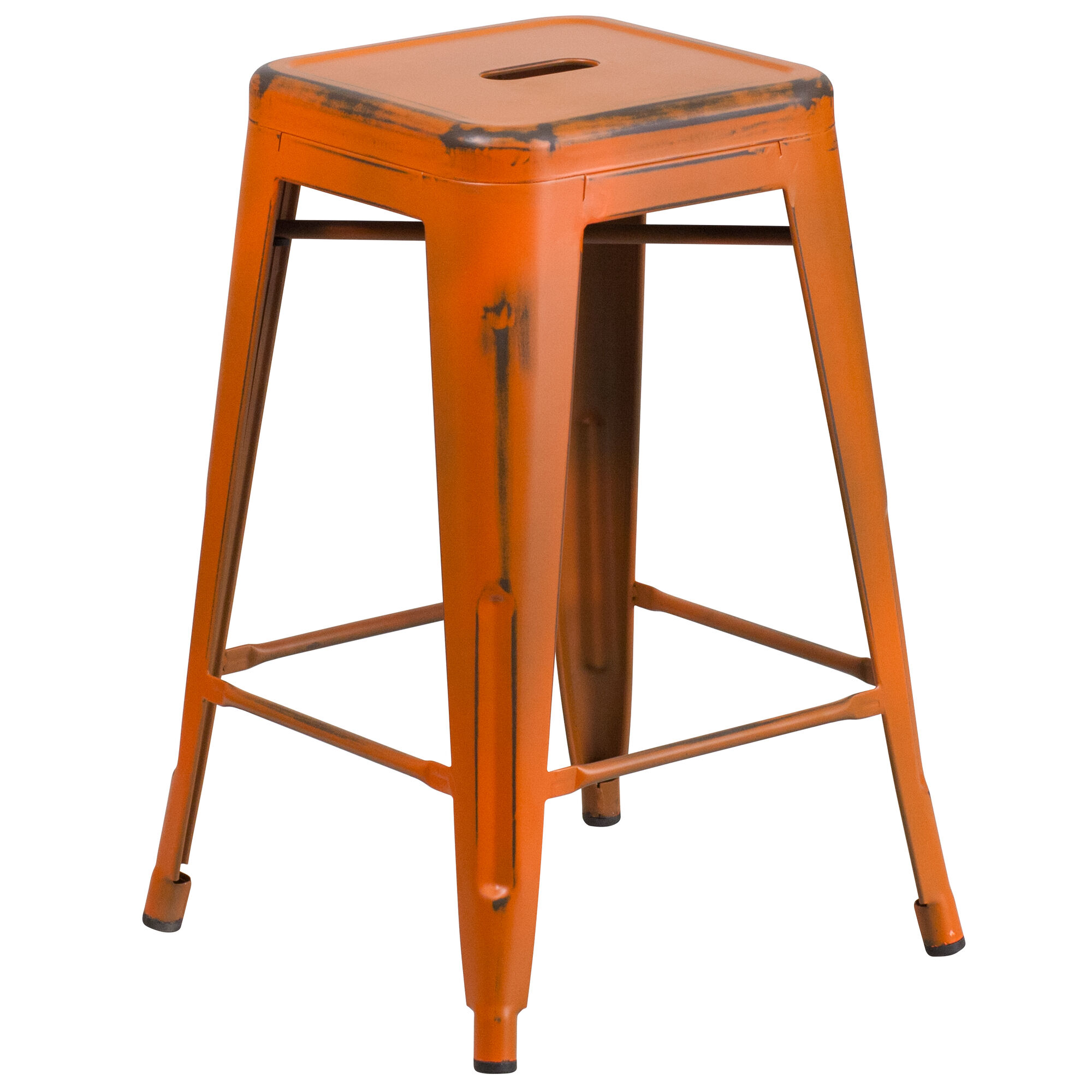 Distressed Orange Metal Stool Et Bt3503 24 Or Gg