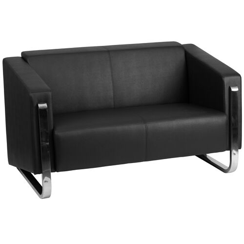 Our HERCULES Gallant Series Contemporary Black LeatherSoft Loveseat with Stainless Steel Frame is on sale now.