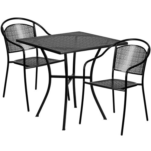 "Our Commercial Grade 28"" Square Indoor-Outdoor Steel Patio Table Set with 2 Round Back Chairs is on sale now."