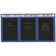 3 Door Outdoor Enclosed Directory Board with Header and Blue Anodized Aluminum Frame - 36