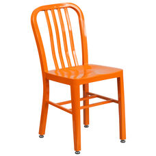 Commercial Grade Orange Metal Indoor-Outdoor Chair