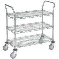Chrome 3 Shelf Utility Cart-Polyurethane Caster - 21