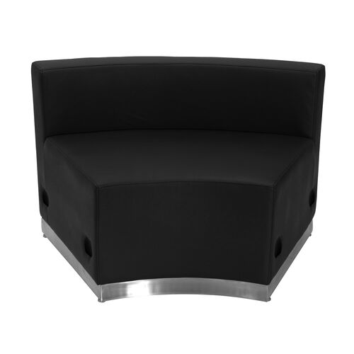 HERCULES Alon Series Black LeatherSoft Concave Chair with Brushed Stainless Steel Base