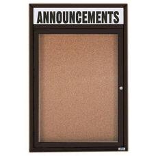 1 Door Indoor Illuminated Enclosed Bulletin Board with Header and Black Powder Coated Aluminum Frame - 24