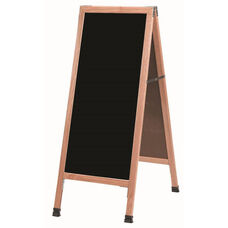A-Frame Sidewalk Black Composition Chalkboard with Solid Red Oak Frame - 42