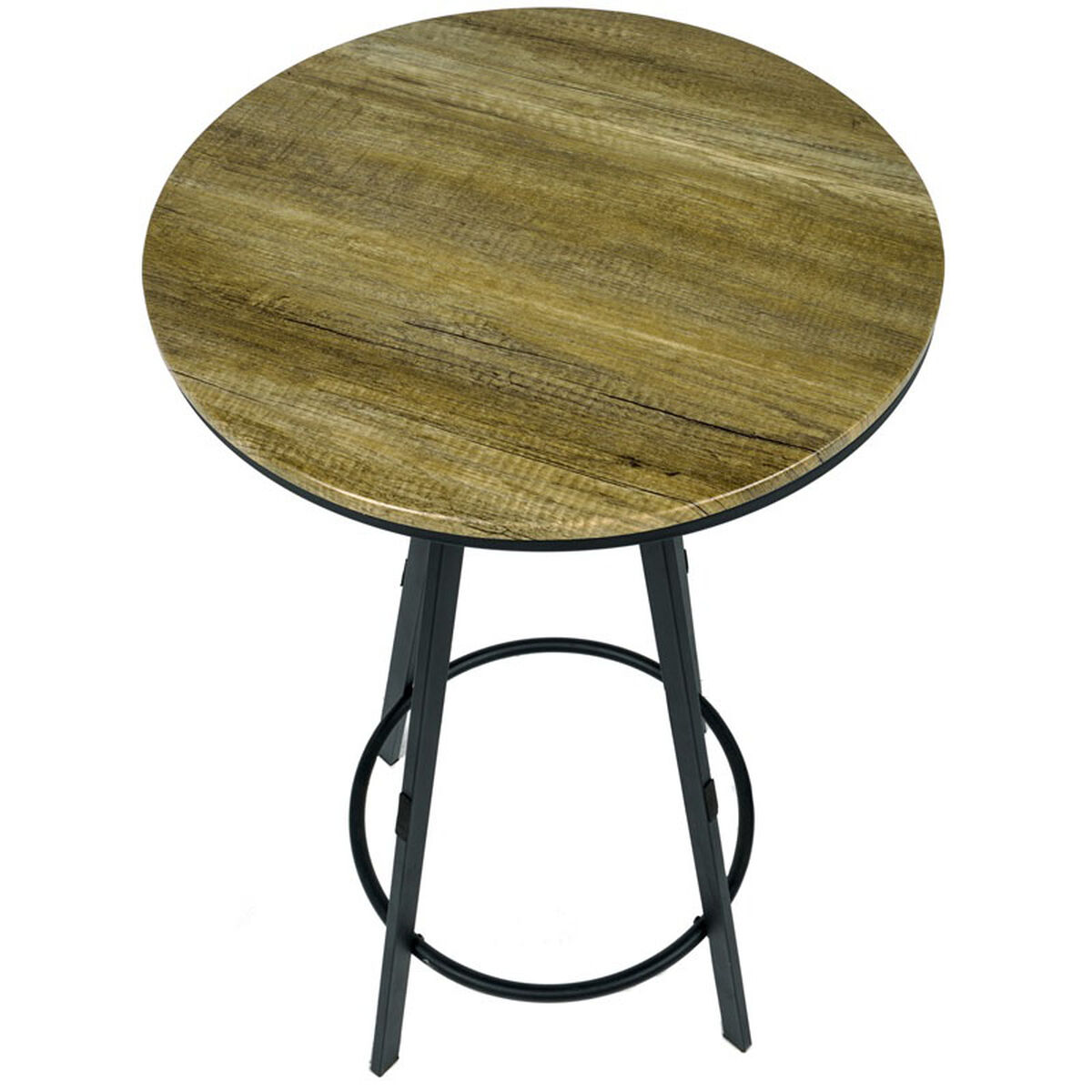 Standard Furniture Cosmo Adjustable Height Round Wood Top: Vintage Industrial Height Adjustable 24'' Round Swivel