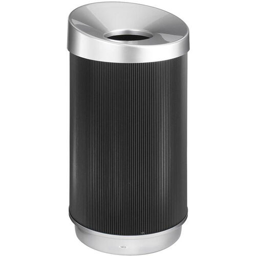 At-Your-Disposal® Vertex 38 Gallon Waste Receptacle with Concave Opening - Black and Chrome