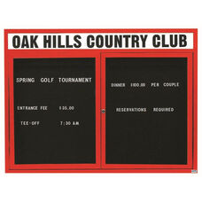 2 Door Indoor Illuminated Enclosed Directory Board with Header and Red Anodized Aluminum Frame - 48