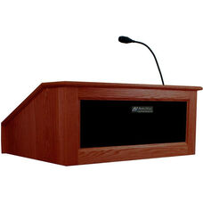 Solid Hardwood Victoria Wired 150 Watt Sound Tabletop Lectern - Mahogany Finish - 27