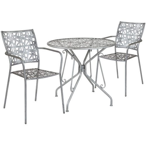 """Our Agostina Series 31.5"""" Round Antique Silver Indoor-Outdoor Steel Patio Table with 2 Stack Chairs is on sale now."""